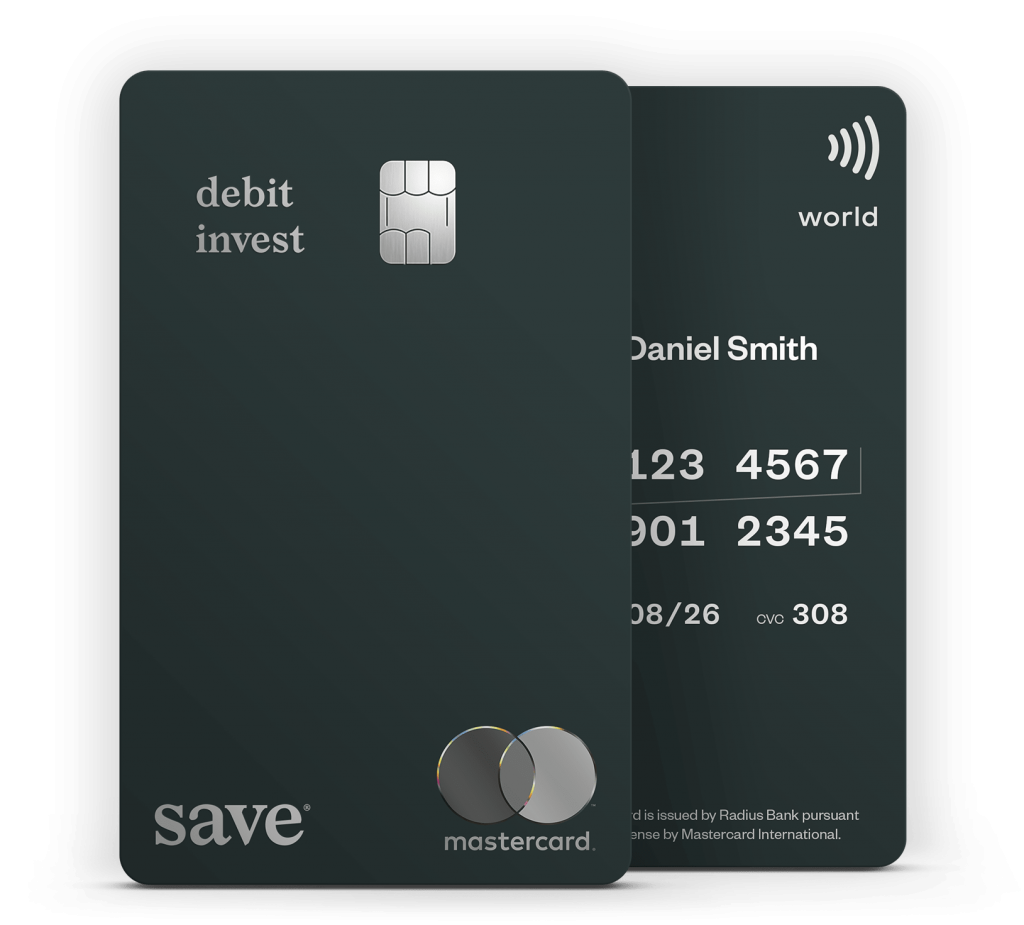 Save Debit Invest Card front and back